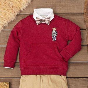Blusa de Moletom Infantil Teddy Bordô