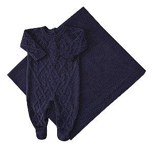 Conjunto de Maternidade Macacão Oslo e Manta Azul Marinho