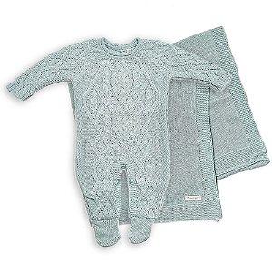 Conjunto de Maternidade Macacão Oslo e Manta Azul Pó