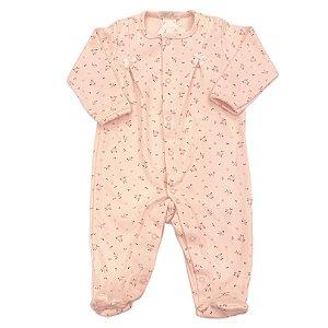 Macacão para Bebê Estampa Mini Rosas - Algodão Egípcio - Tam Prematuro ao M