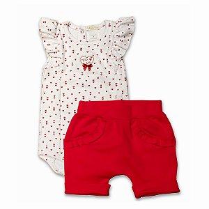 Conjunto Body e Shorts Bebê Estampa Corações - 100% Algodão - Tam M a GG