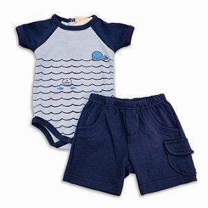 Conjunto Bebê Masculino Body e Shorts Baleia - Tam P a GG