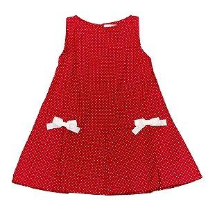 Vestido Infantil 2 Laços - Poá Vermelho - Tam M ao 8