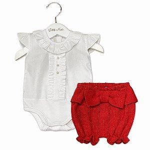 Conjunto Shorts Tricô Vermelho e Body
