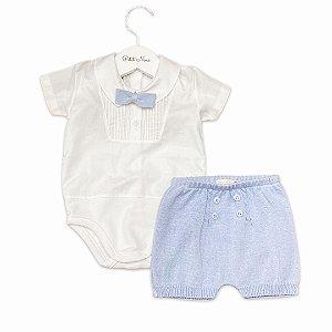 Conjunto Shorts, Body e Gravata Tricô Azul Claro - Tam P ao GG