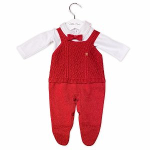 Conjunto Saída de Maternidade Genebra - Jardineira, Body e Gravata - Vermelha