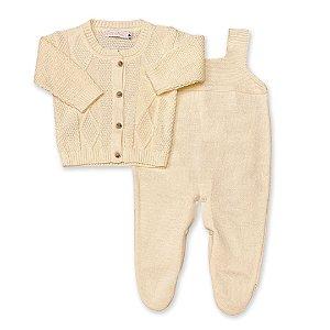 Conjunto Saída de Maternidade Versalhes  - Casaco e Jardineira - Amarelo