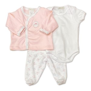 Conjunto para Bebê com Culote, Body e Casaquinho - 100% Algodão - Tema Unicórnio