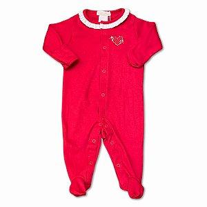 Macacão para Bebê Vermelho Bordado Coração - Algodão Egípcio - Tam RN ao M