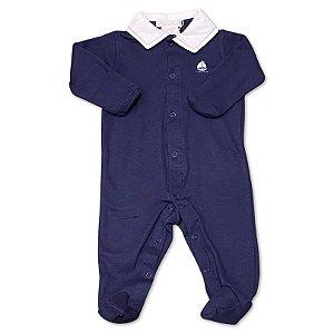 Macacão para Bebê Marinho Barquinho - Algodão Egípcio - Tam RN ao M