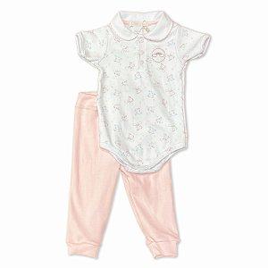 Conjunto Infantil Menina - Body e Calça Algodão Egípcio - Estampa Unicórnios - Tam M a G
