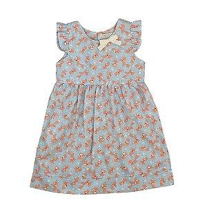 Vestido Infantil Estampa Raposas
