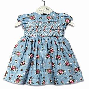 Vestido Infantil Caseado Duplo Floral Azul  - Tam P ao G