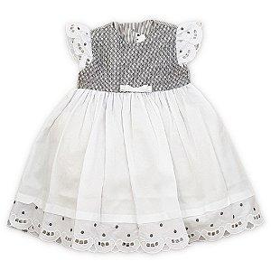 Vestido Infantil Rechilieu Branco com Caseado Cinza