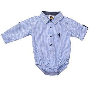 Body Camisa Manga Longa Xadrez Azul