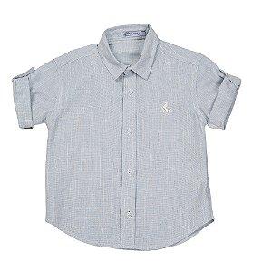 Camisa Infantil Masculina Manga Curta Linho Azul - Tam 1 ao 6