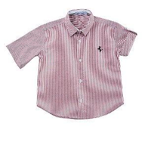 Camisa Masculina Infantil Manga Curta Listras Vermelhas