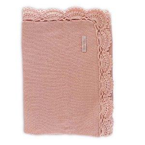 Manta de Tricô com Barra Crochê Leque Rosa