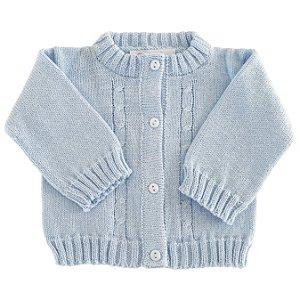 Casaco Infantil Tricô Azul Claro