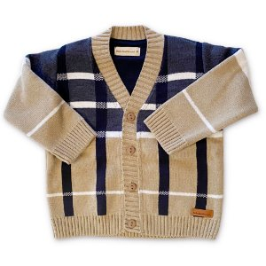Cardigan Infantil Xadrez Fibra - Bebelândia