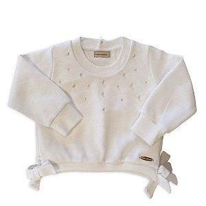 Blusa Infantil Cropped Branca com Pérolas - Bebelândia
