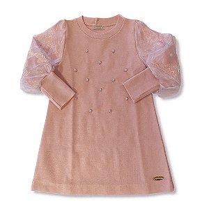 Vestido Infantil Tricô e Tule Poá Perolas Rosa - Tam 1 ao 8