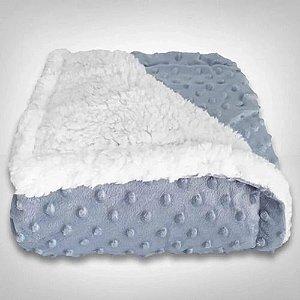 Cobertor Infantil Forrado Sherpa - Estampa Dots - Cor Azul