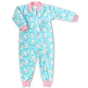 Pijama Macacão Soft com Zíper - Estampa Unicórnio - Tam 1 a 8