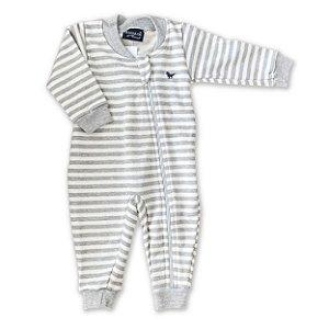 Pijama Macacão Moletom Peluciado - Estampa Listras - Tam 1 e 3