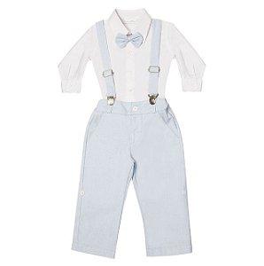 Conjunto para Batizado - Calça Azul, Camisa e Suspensórios