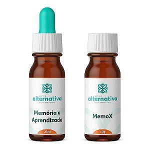 Kit Floral De Bach Memória E Aprendizado 30ml + MemoX Homeopatia para Estímulo de Memória 60g