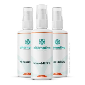 Kit 3 frascos Minoxidil 5% Spray 120mL