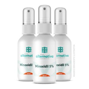 Kit  3 frascos Minoxidil 5% Spray 60mL