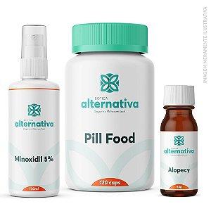 AlterMax Fortalecimento Capilar - Minoxidil 5% 120ml + Pill Food 120cáps + Alopecy 60g glóbulos