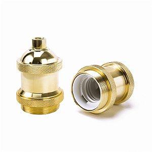 Soquete Retro para cupulas com acabamento em latão na cor dourado /E27
