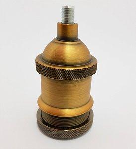 Soquete Retrô Vintage Industrial com acabamento de Aluminio na cor Bronze Retro /E27