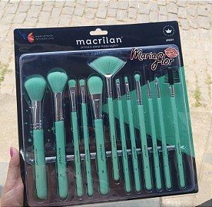 Kit com 12 Pincéis para Maquiagem Neon Macrilan Verde