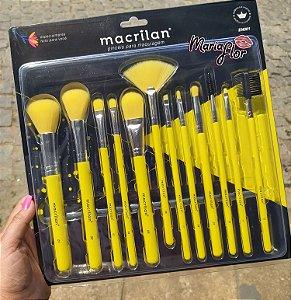 Kit com 12 Pincéis para Maquiagem Neon Macrilan Amarelo