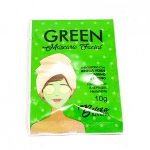 Máscara Facial Green Peel Off Pepino Anti Rugas Sachê 10G Beleza Juvenil