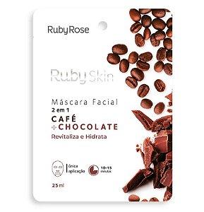 Máscara Facial De Tecido Café E Chocolate Skin 2 Em 1 - Ruby Rose