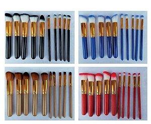 Kit pincel com 10 peças coloridas