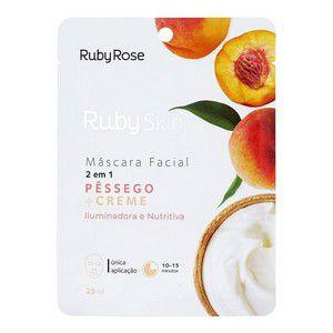 Máscara Facial de Tecido Pêssego e Creme Skin 2 em 1 - Ruby Rose