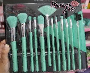 kit com 12 pincéis para maquiagem verde neon - macrilan