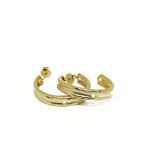 Brinco de Argola Fosca lisa folheado em ouro 18k