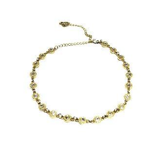 Colar Choker de zirconia folheado em ouro 18k