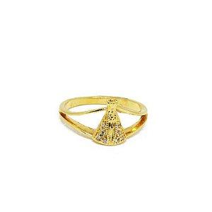 Anel Nossa Senhora Aparecida com Micro Zirconia Folheado em Ouro 18k