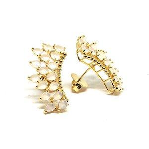 Brinco pedra natural Ear Cuff folheado em ouro 18k