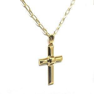 Corrente com pingente de cruz folheado em ouro 18k