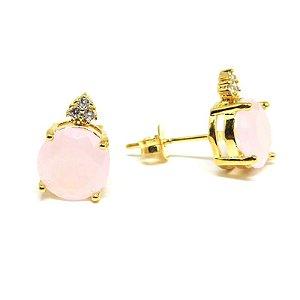 Brinco médio com pedra natural rosa folheado em ouro 18k