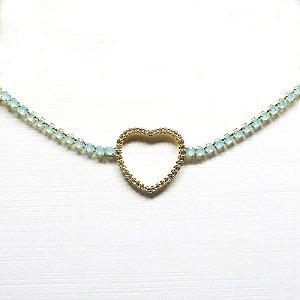 Choker pedra natural com coração de zirconia folheado em ouro 18k